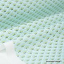 Tissu cretonne coton Koi menthe imprimé  .x1m