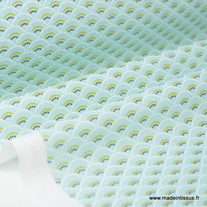 Tissu cretonne coton Koi menthe imprimé  x50cm
