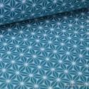 Tissu Cretonne coton Emeraude et blanc imprimé tendance japonaise