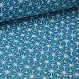Cretonne coton émeraude/pétrole et blanc imprimé tendance japonaise