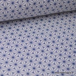 Tissu Cretonne coton lin et blanc imprimé tendance japonaise