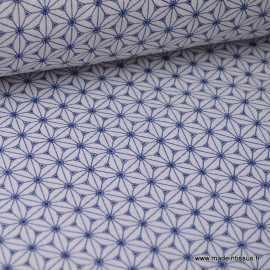 Cretonne coton lin et blanc imprimé tendance japonaise
