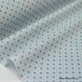 Tissu cretonne coton Ming Ciel imprimé tendance Japonnais x50cm