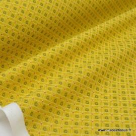 Tissu cretonne coton Ming Moutarde imprimé tendance Japonnais .x1m
