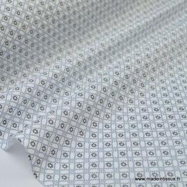 Tissu cretonne coton Ming Noir et blanc imprimé tendance Japonnais x50cm