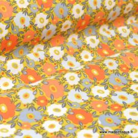 Tissu Cretonne coton imprimé fleurs Camille Curry