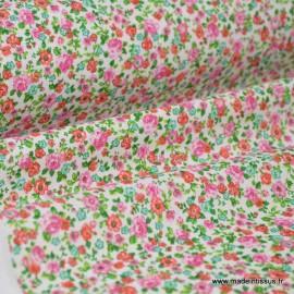 Tissu Cretonne coton imprimé fleurettes LISE