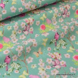 Tissu cretonne coton FLEURS MENTHE - Oeko tex ,