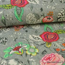Tissu cretonne coton imprimé fleurs sur fond gris x1m