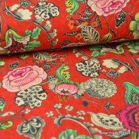 Tissu cretonne coton imprimé fleurs sur fond Rouge x1m