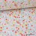tissu coton imprimé fleurs et fleurettes rose, menthe et jaune .x1m