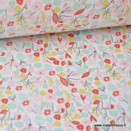tissu coton imprimé fleurs et fleurettes menthe et rouge .x1m