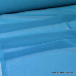 tissu Mousseline fluide polyester bleu/vert  x50cm