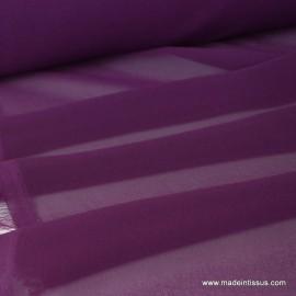 Tissu Mousseline fluide polyester prune .