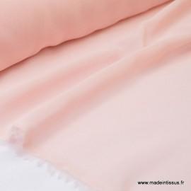 Tissu Mousseline fluide polyester rose poudré