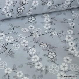 Tissu Voile de coton oeko tex imprimé Fleurs fond Gris