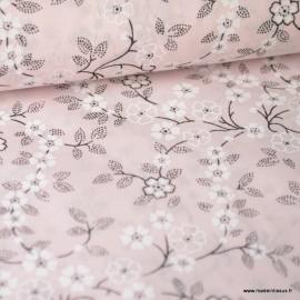 Tissu Voile de coton oeko tex imprimé Fleurs fond Rose