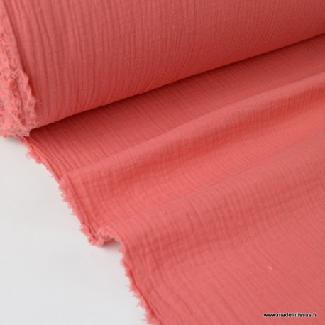 Tissu Double gaze de coton Oeko tex Coloris Corail
