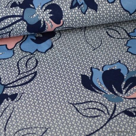 Tissu jersey Viscose imprimé fleurs graphiques rose et bleu