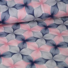 Tissu jersey Viscose imprimé fleurs graphiques roses, grises et bleu marine