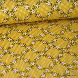 Tissu jersey Viscose imprimé petites fleurs fond jaune