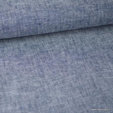 Tissu chambray Lin Coton coloris marine