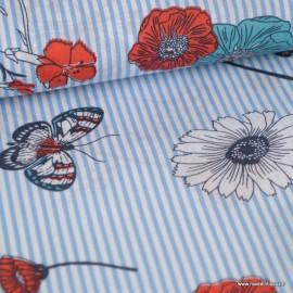 Tissu popeline à rayures bleu et blanches motif floral