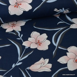 Tissu popeline imprimé fleurs roses fond bleu