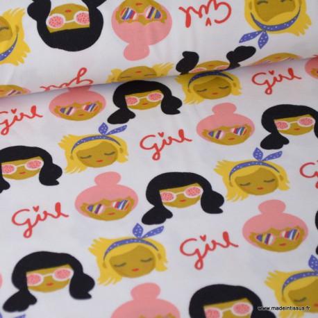 Tissu jersey Oeko tex imprimé Girly Girl