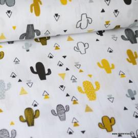 Tissu Popeline imprimé Cactus gris, jaunes et noir fond Blanc. Oeko tex
