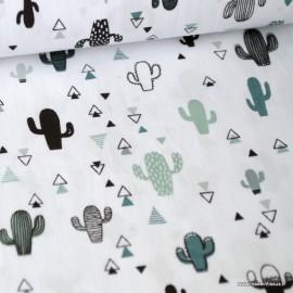 Tissu Popeline imprimé Cactus menthe et gris fond blanc. Oeko tex
