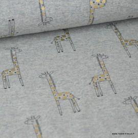 Tissu jersey Giraffe à pois dorés, gris clair chiné