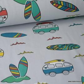 Tissu jersey Oeko tex imprimé Combis vans et planches de surfs fond Gris