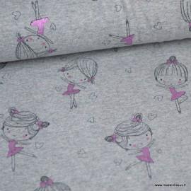 Tissu jersey Ballerine, gris clair chiné et rose métal