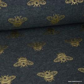 Tissu jersey gris chiné imprimé Abeilles glitter doré x1m