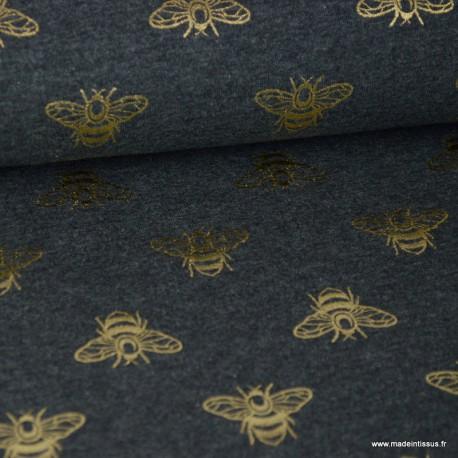 Tissu jersey gris chiné imprimé Abeilles glitter doré