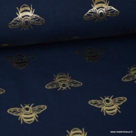 Tissu jersey bleu marine imprimé Abeilles doréx1m