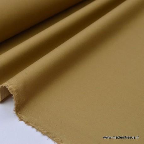 Tissu gabardine imperméable polyester coton camel x50cm