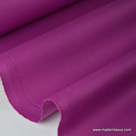 Tissu gabardine imperméable polyester coton fuchsia x50cm