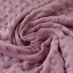 Tissu minky POIS VIEUX ROSE.x1m