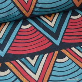 Tissu popeline Wax Triangles bleu, orange et Fuchsia label oeko tex