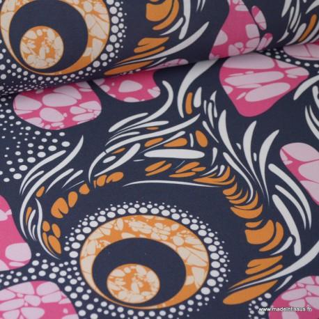 Tissu Wax popeline imprimé Ronds bleu, orange et Fuchsia label oeko tex