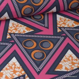 Tissu Wax popeline imprimé Triangles bleu marine, orange et Fuchsia label oeko tex