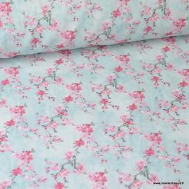 Tissu coton Japonisant imprimé Fleurs Roses sur fond Bleu Oeko tex