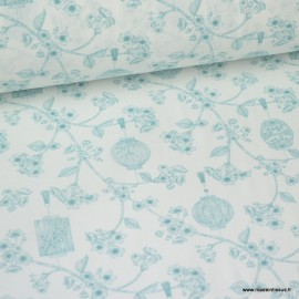 Tissu coton Japonais imprimé Fleurs et Lanternes bleu fond blanc Oeko tex
