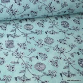 Tissu coton Japonisant imprimé Fleurs et Lanternes  fond bleu Oeko tex