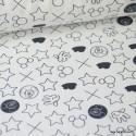 Tissu coton DISNEY imprimé Mickey, croix et ronds noir et Blanc Oeko tex