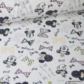 Tissu coton DISNEY imprimé Minnie et Noeuds papillons rose et bleu Oeko tex