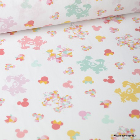 Tissu coton DISNEY imprimé Minnie Rose, menthe et jaune Oeko tex