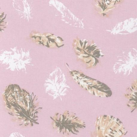 Tissu 100% coton dessin grosses plumes sur fond rose pale  x50cm